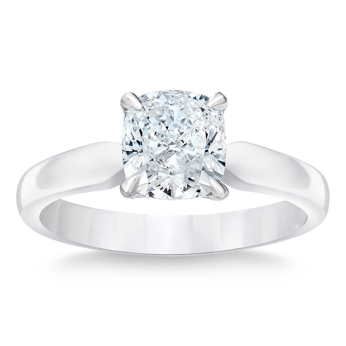 Cushion Cut 212 Ct Vvs2 Clarity, E Color Diamond Platinum Solitaire Ring