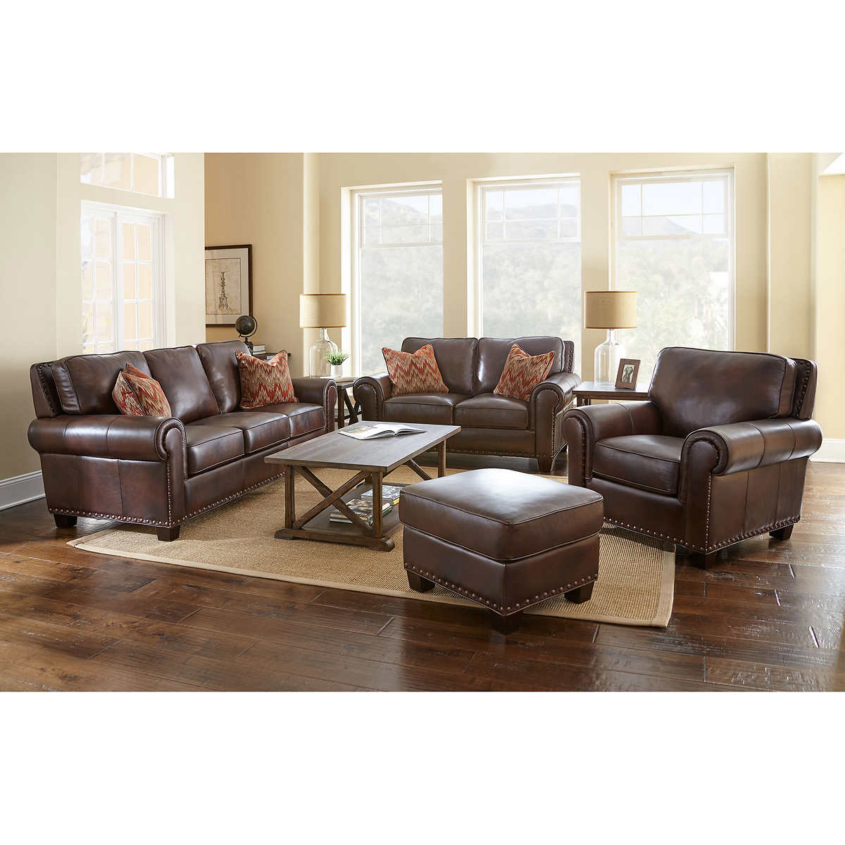 Atwood 4 Piece Top Grain Leather Set