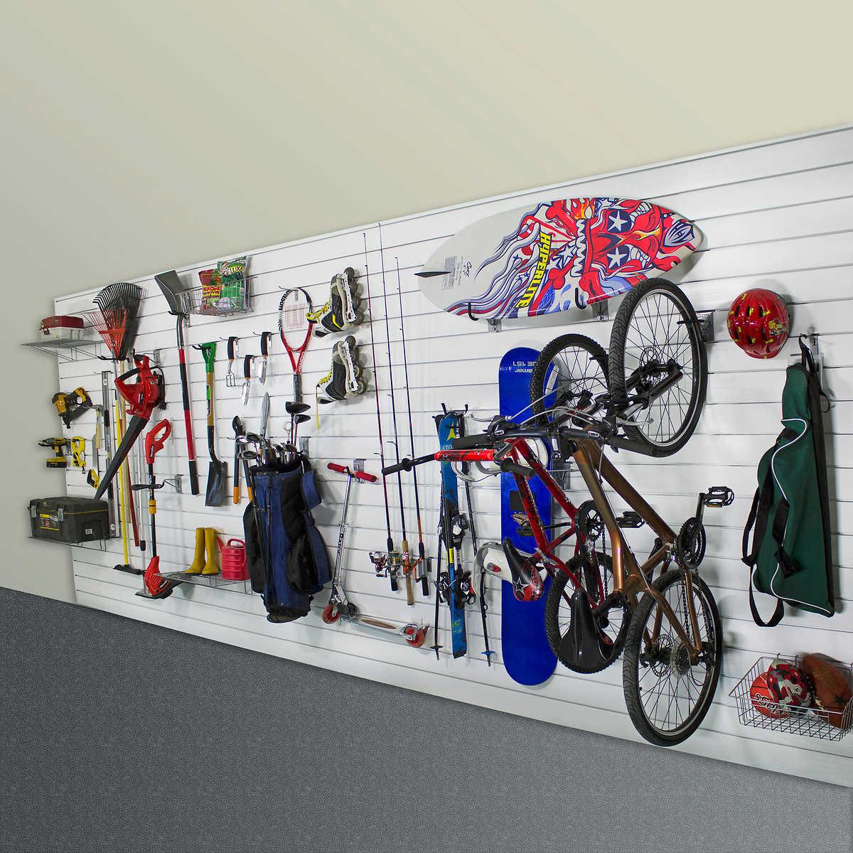 Proslat Wall Storage Garage Wall Bundle 192 sq. ft. with 38pc Hooks &  Accessories - Garage Storage Racks Costco