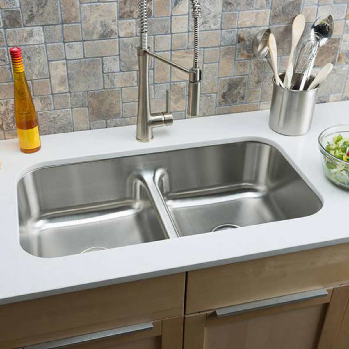 Hahn Chef Series Stainless Steel Equal Double Bowl Low Divide Sink product hahn kitchen sinks Click to Zoom