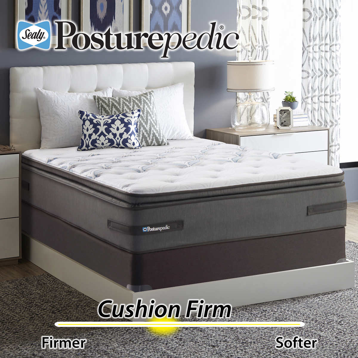 Sealy Posturepedic Plus Series Meadowdale Cushion Firm Euro Pillowtop Cal  King Mattress and Foundation. Item #1031990. Click to Zoom