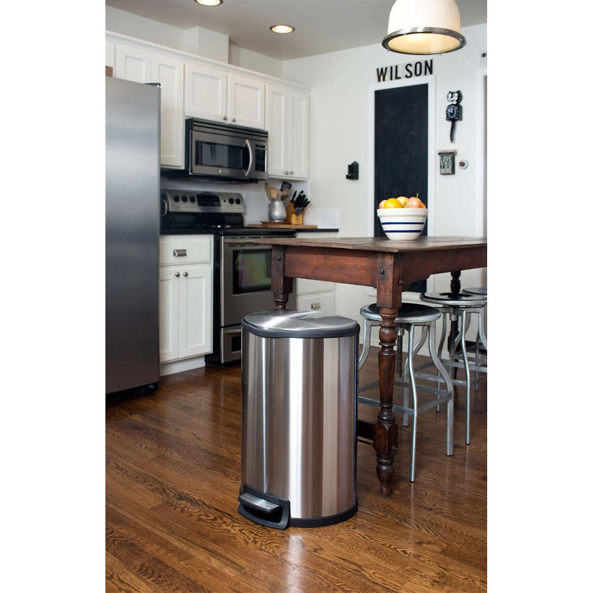 Semi Round 11.9-gallon Stainless Steel Trash Can