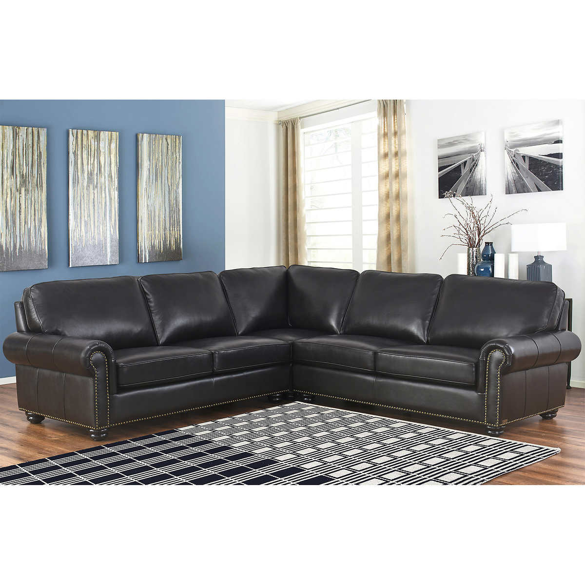Delmar Top Grain Leather Sectional Living Room Set