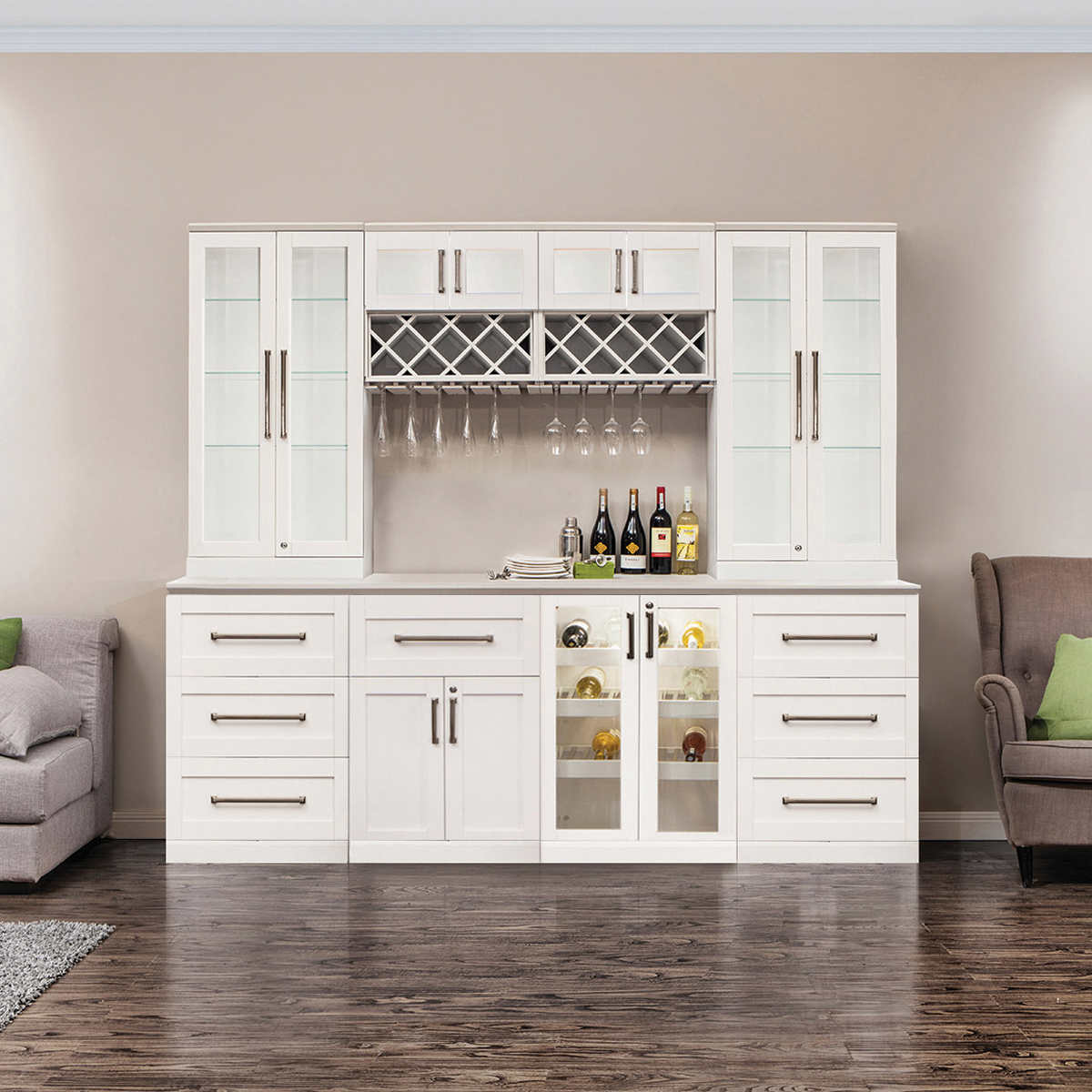 cabinets costco kitchen remodel Home Wine Bar 9 piece Cabinetry Set by NewAge Products