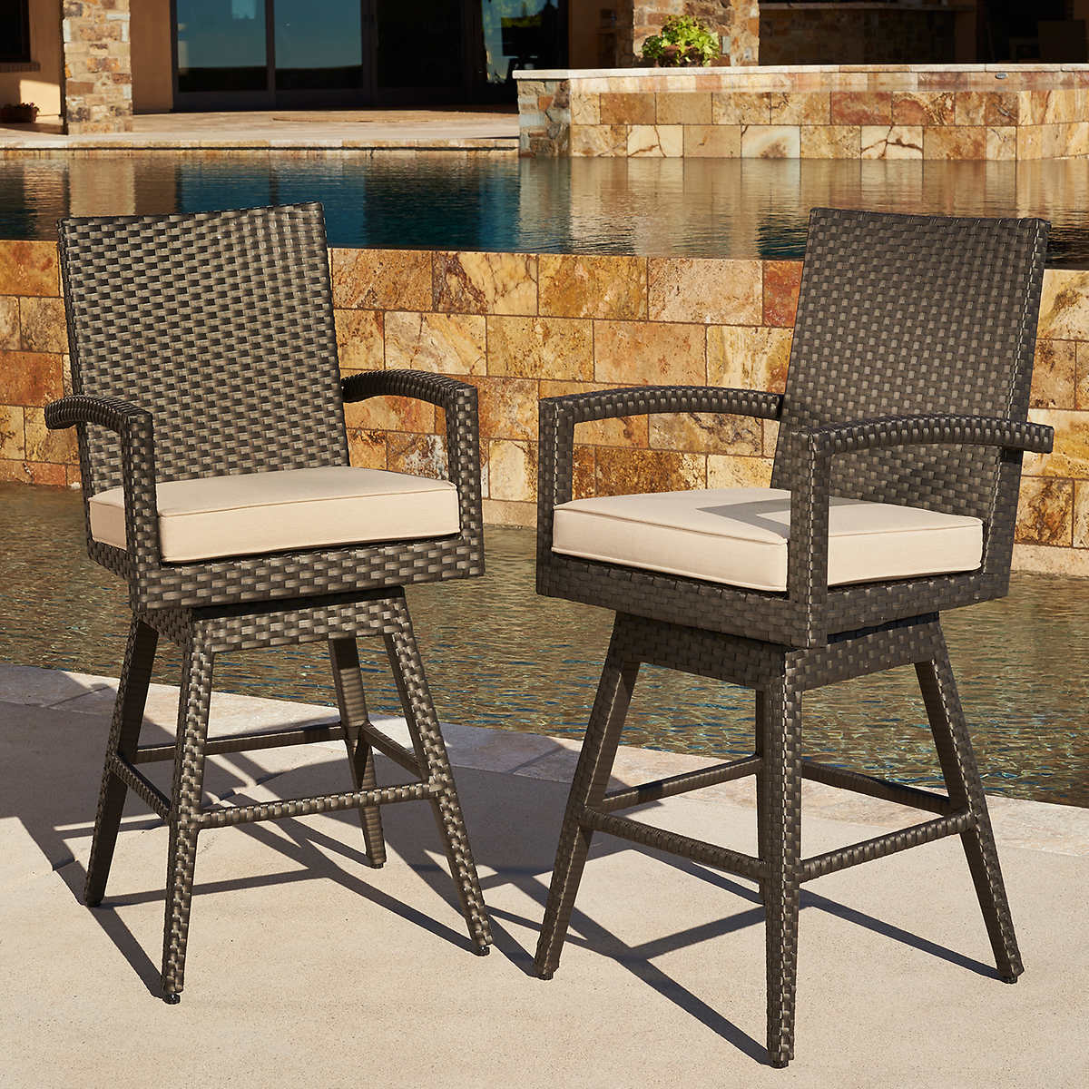 Outdoor bar table and stools - Sidney Barstools By Mission Hills 2 Pack