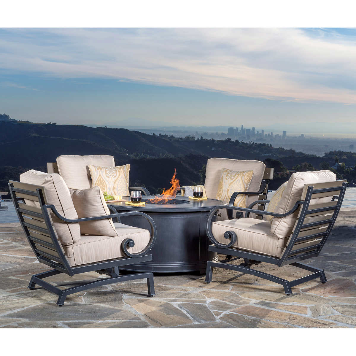 Furniture swivel and tub chairs dori fabric swivel cuddle chair - Reserve 5 Piece Fire Chat Set