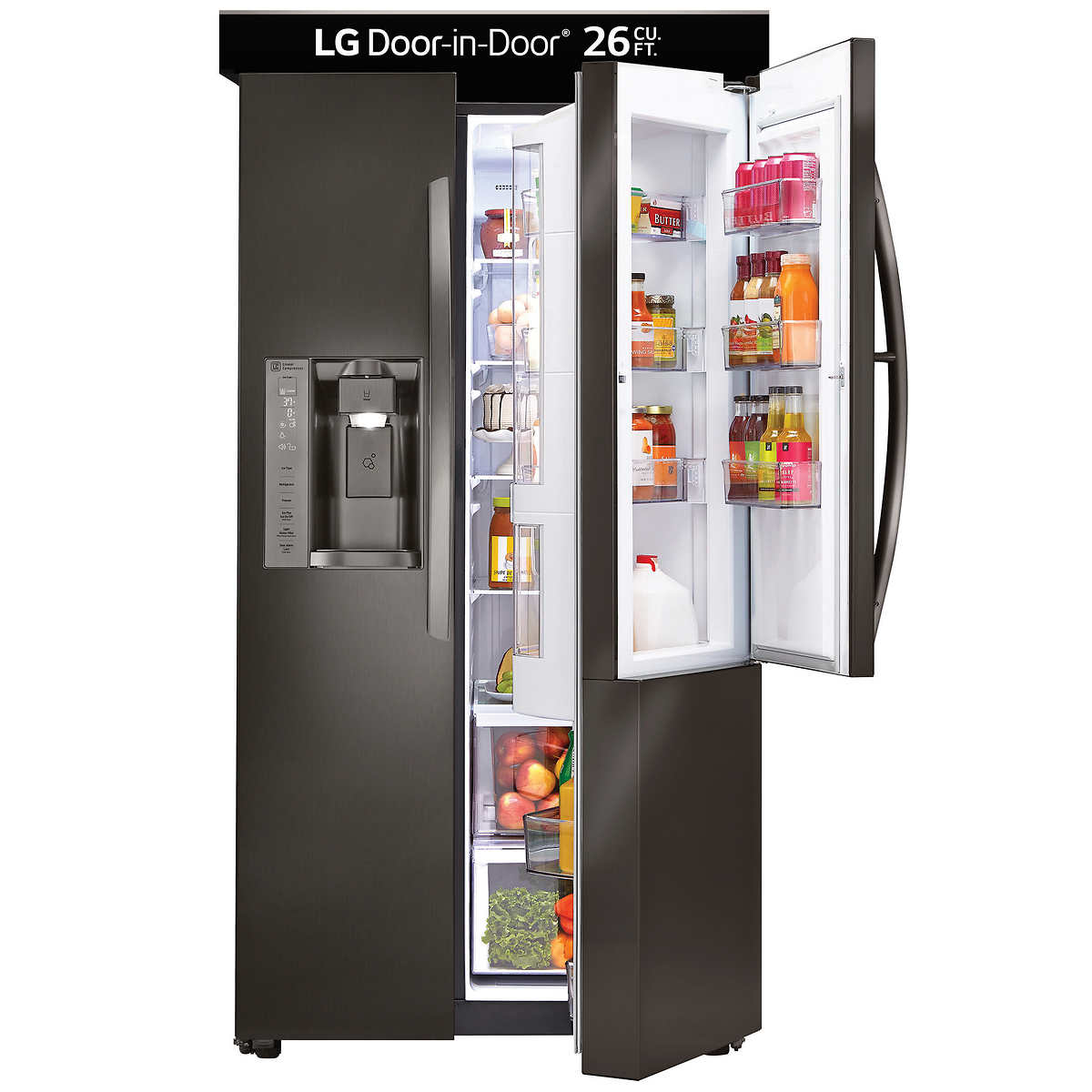Ge 30 inch side by side white refrigerator - Lg 26cuft Side By Side Ultra Large Capacity With Door In Door