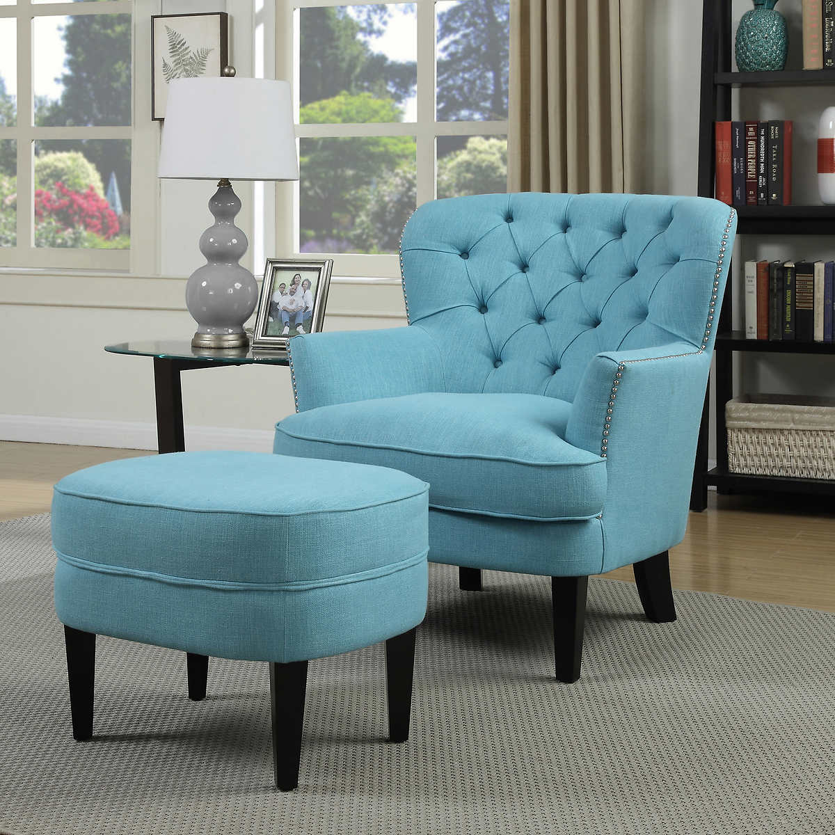 Chair And A Half With Ottoman Blue - Petra fabric accent chair and ottoman