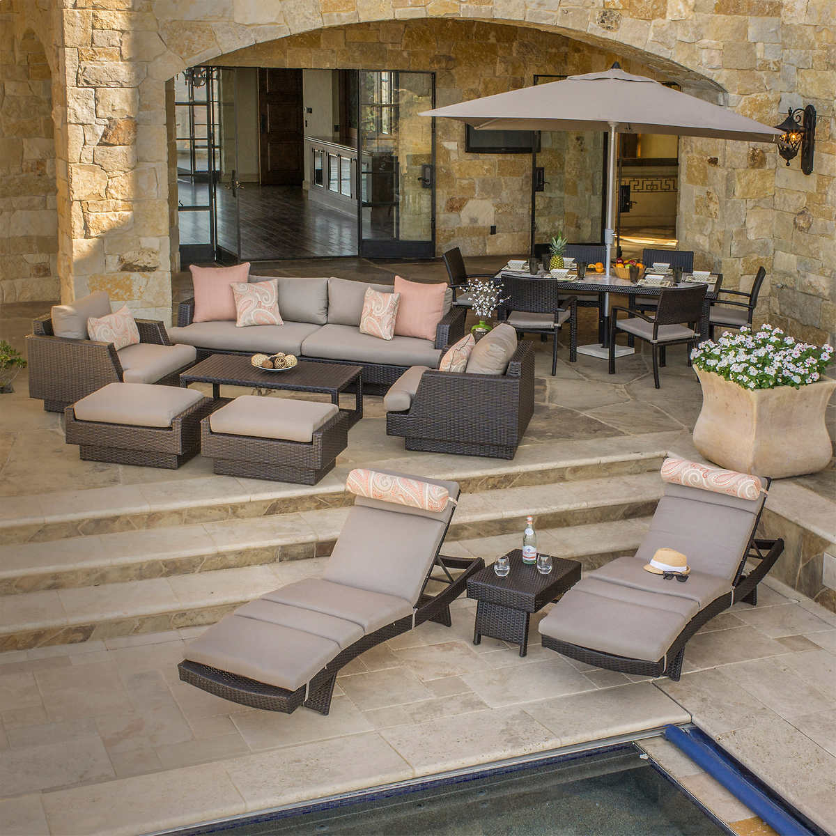 Portofino Comfort 18-piece Estate Collection in Espresso Taupe by RST Brands - Portofino Costco