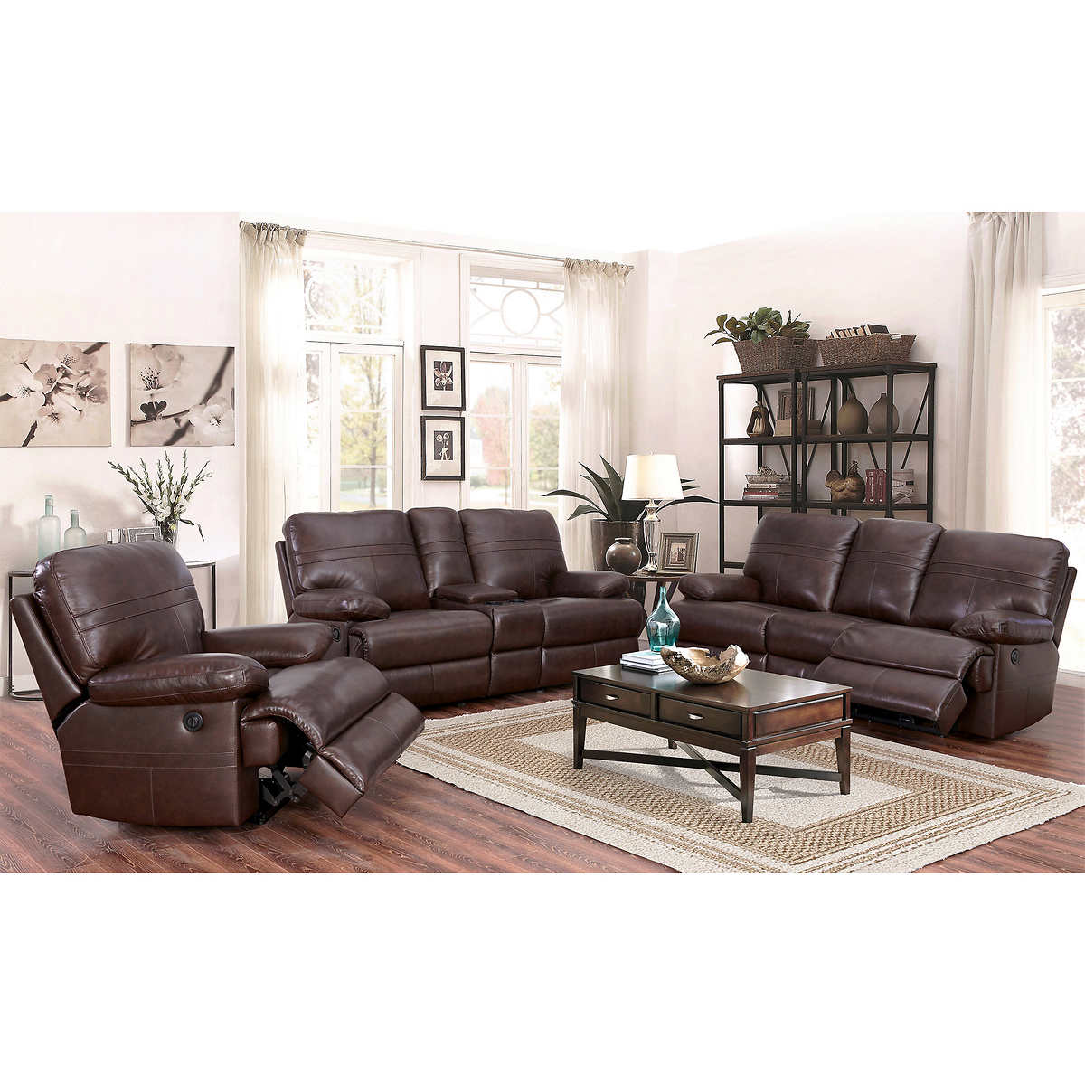 Reclining Living Room Sets Catterton 3 Piece Top Grain Leather Power Reclining Living Room Set