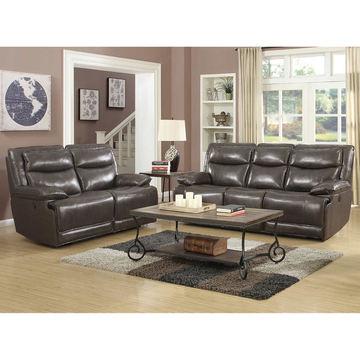 Brody 2 Piece Top Grain Leather Reclining Set Living Room Furniture Sets Costco