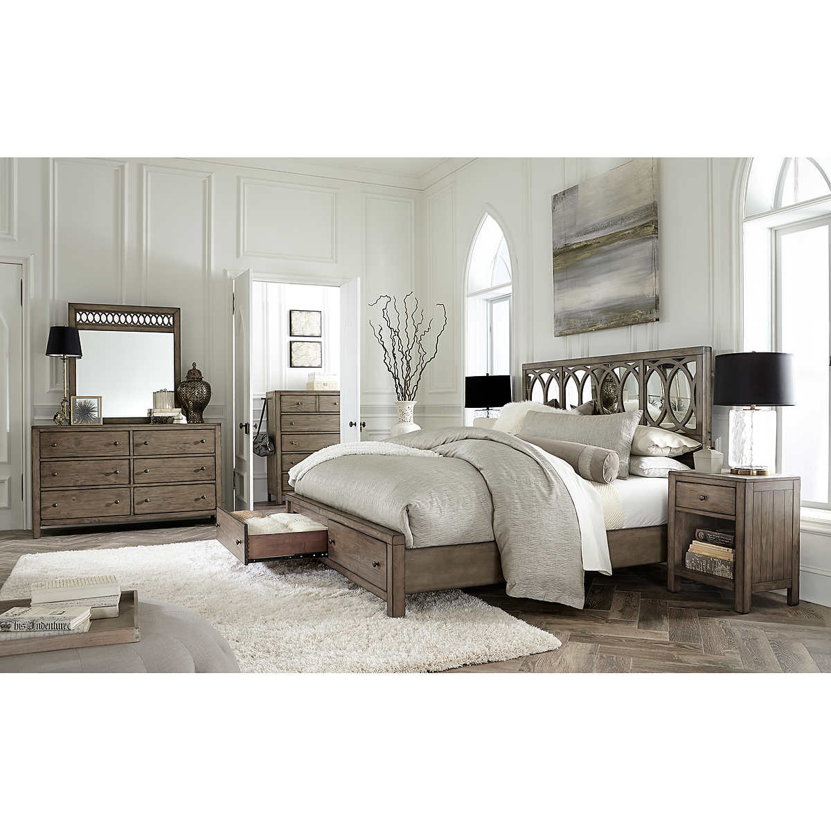 queen bedroom sets  costco - beverly piece queen mirrored bedroom set