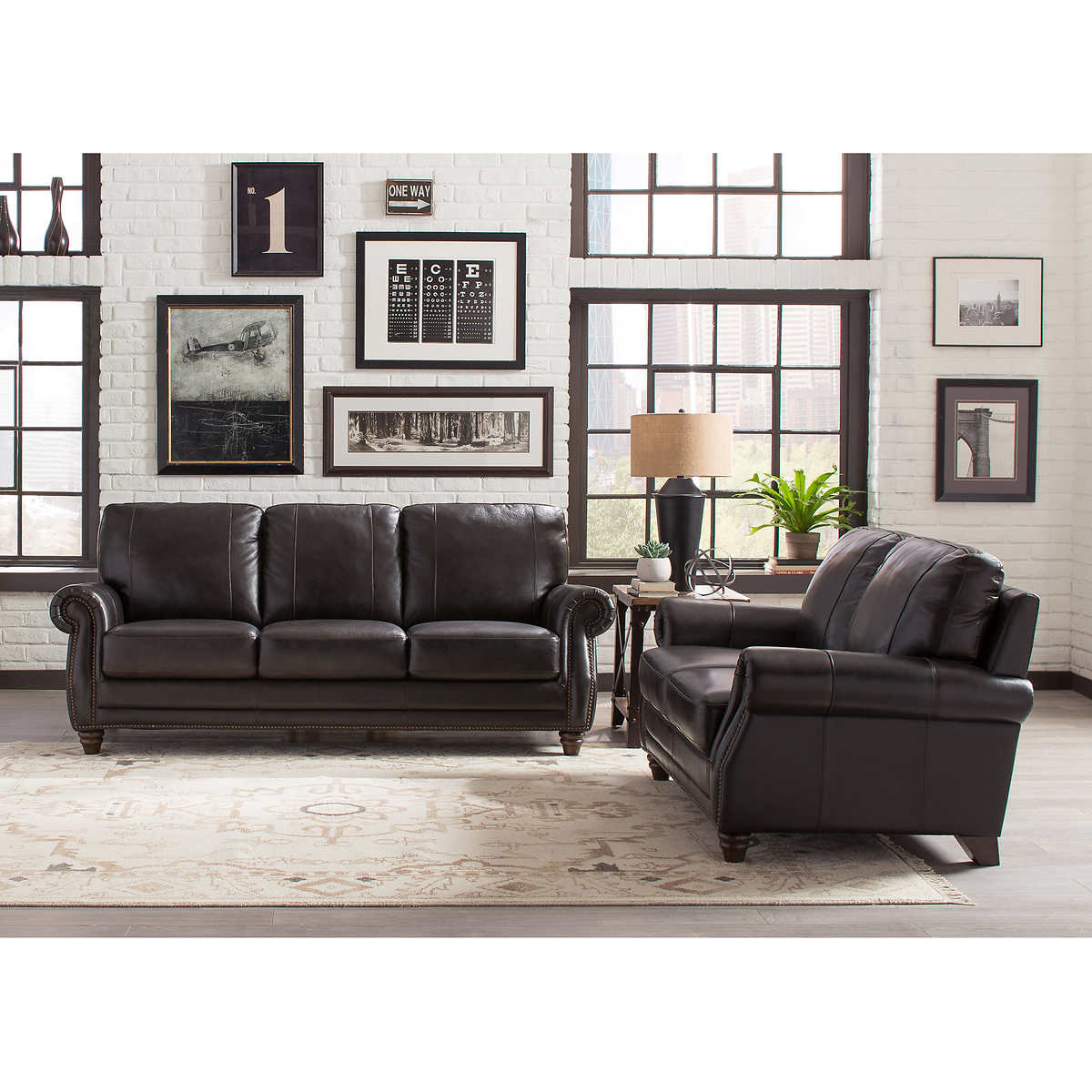 landis 2 piece top grain leather set sofa durab