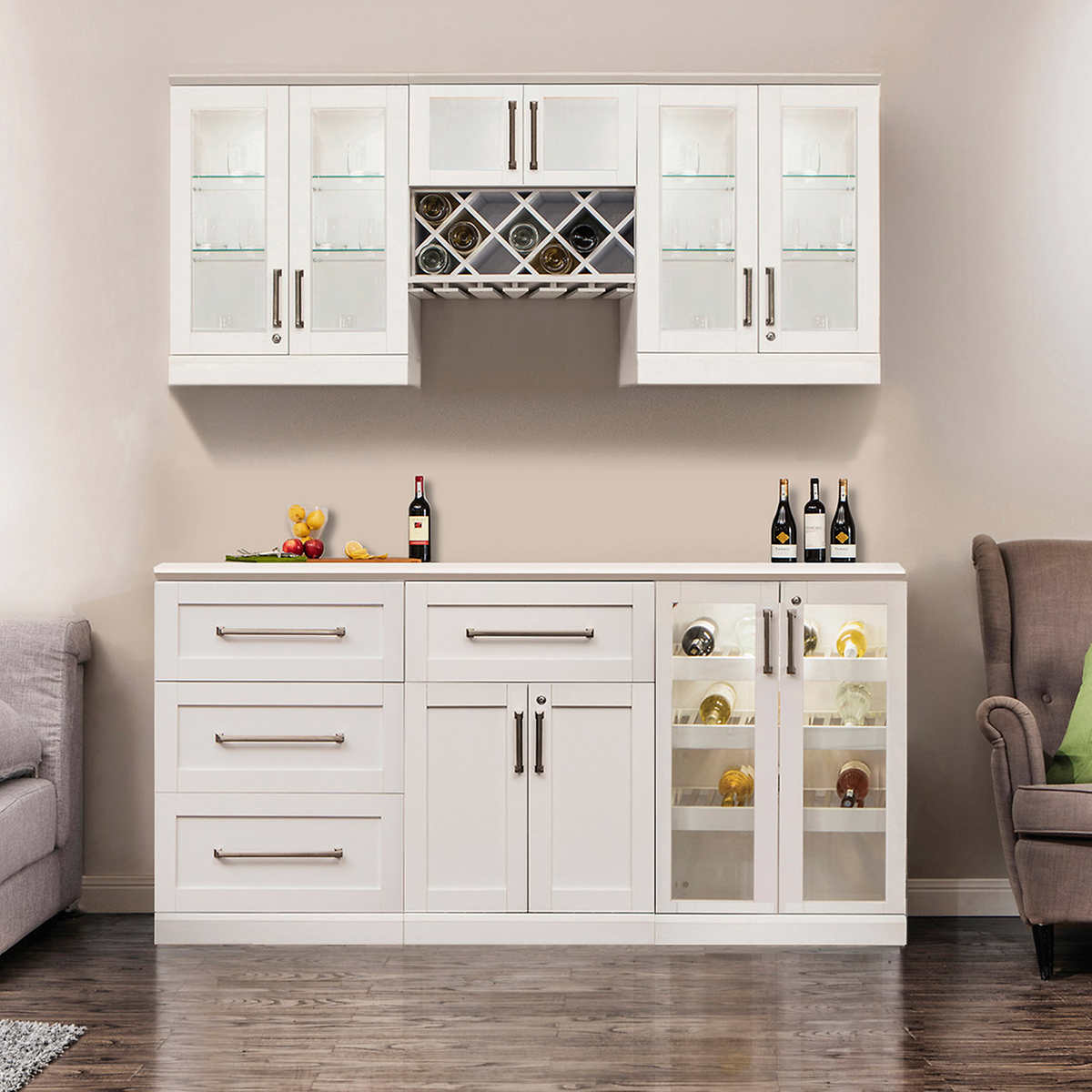 cabinets costco kitchen cabinets Home Wine Bar 7 piece Cabinetry Set by NewAge Products