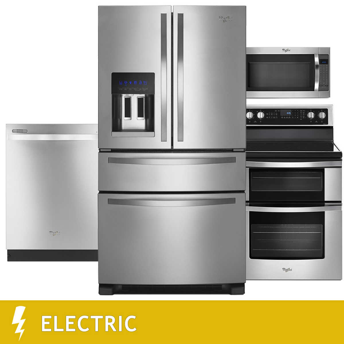 Whirlpool white ice costco - Whirlpool 4 Piece Electric 25cuft 4 Door French Door Kitchen Suite In Stainless
