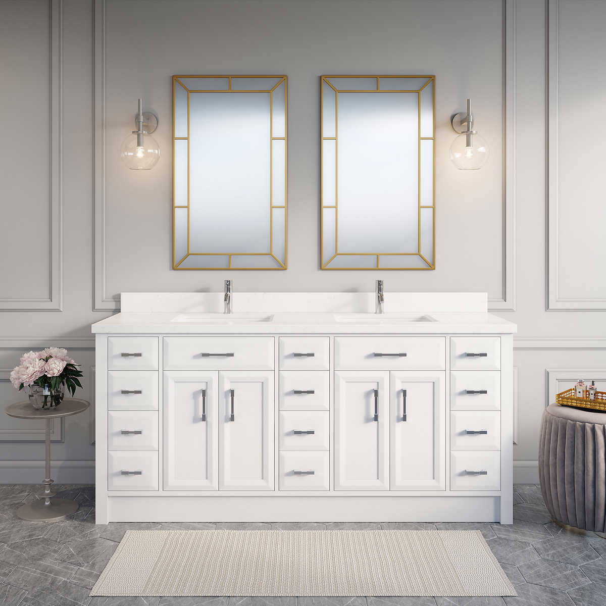 Calais 75  White Double Sink Vanity by Studio Bathe. Double Sink Vanities