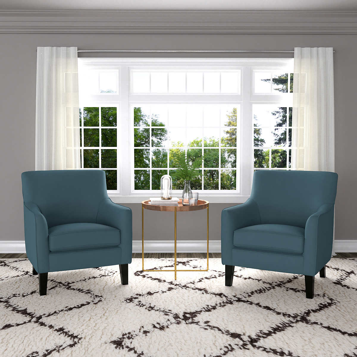 Yuri Blue Fabric Accent Chair 2 Pack