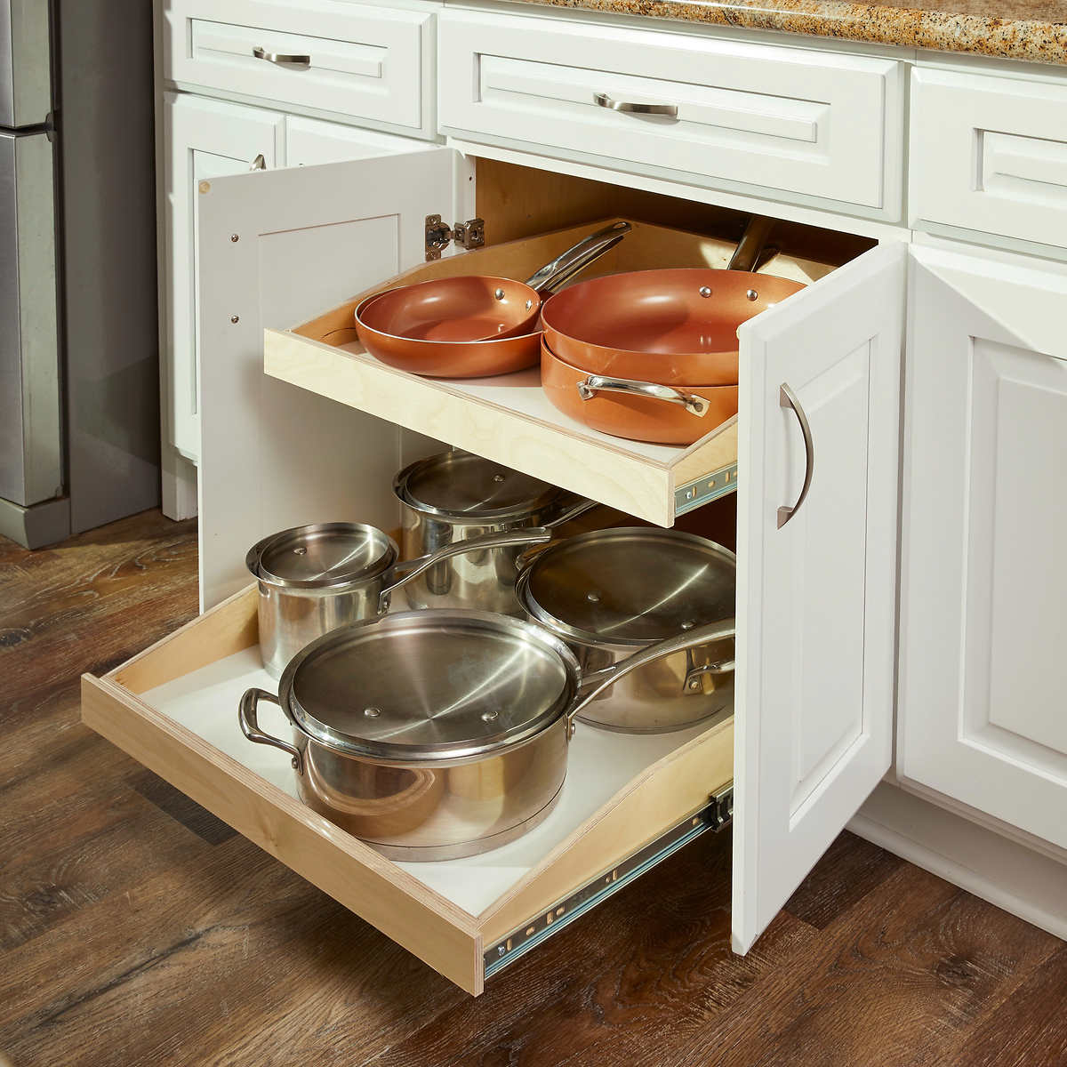 Shelf For Kitchen Made To Fit Slide Out Shelves For Existing Cabinets By Slide A Shelf