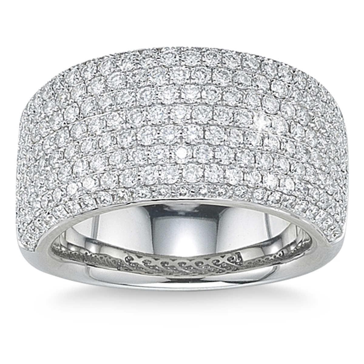 diamond bands pave diamond wedding band Round Brilliant 1 89 ctw VS2 Clarity I Color Diamond 18kt White Gold Pave Band