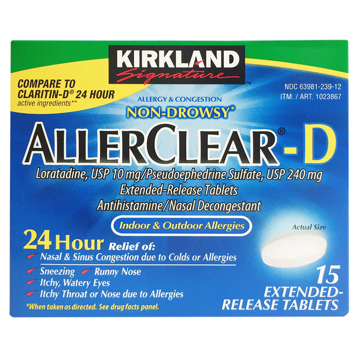 Kirkland Signature Allerclear-D 24 Hour, 15 Extended Release Tablets