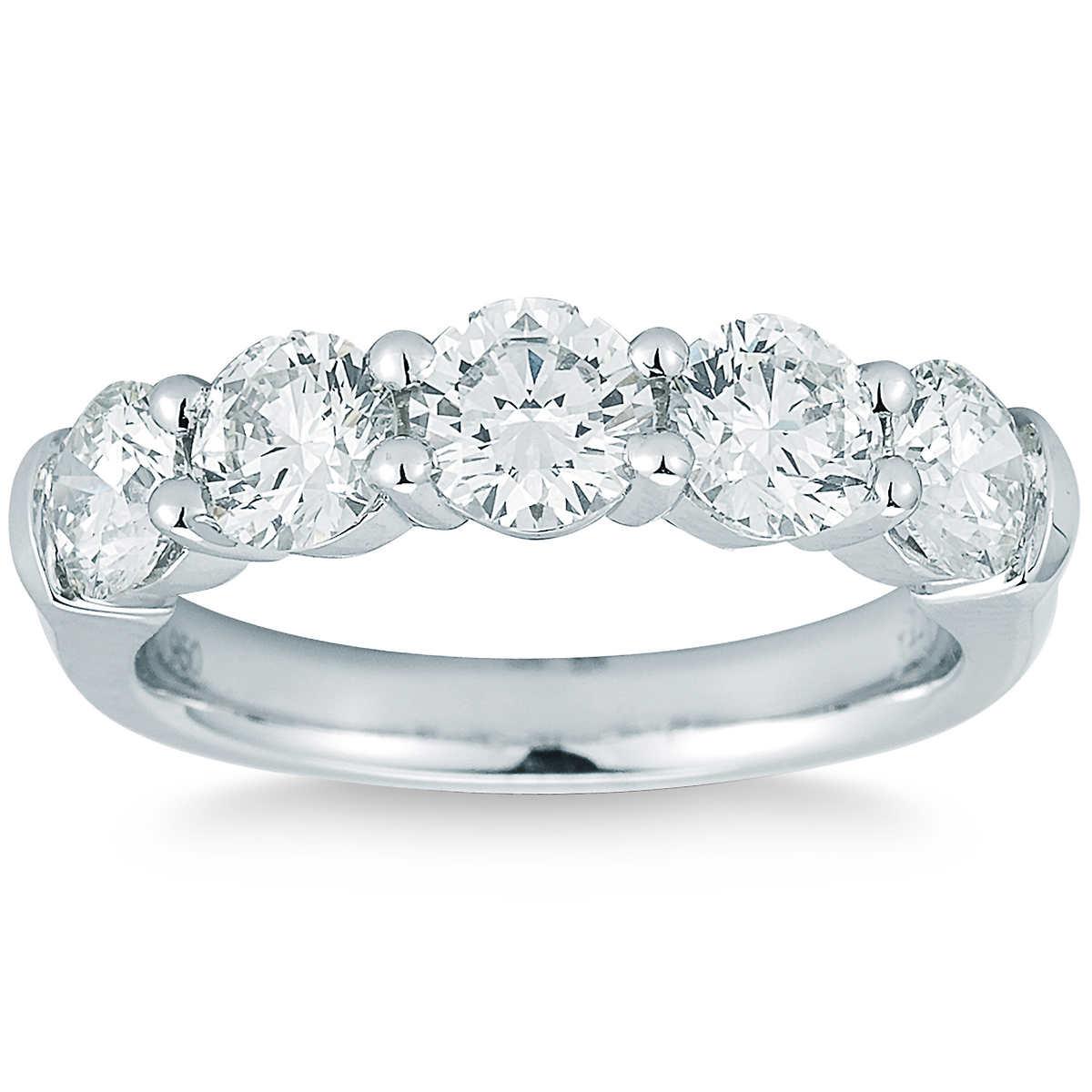 round brilliant 200 ctw vs2 clarity i color diamond platinum five stone ring - Costco Wedding Rings