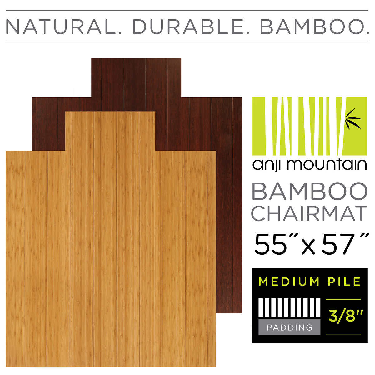 Hardwood Floor Chair Mat office chair mat enlarge Anji Mountain Bamboo Chair Mat Medium Pilehard Floor 55 X 57