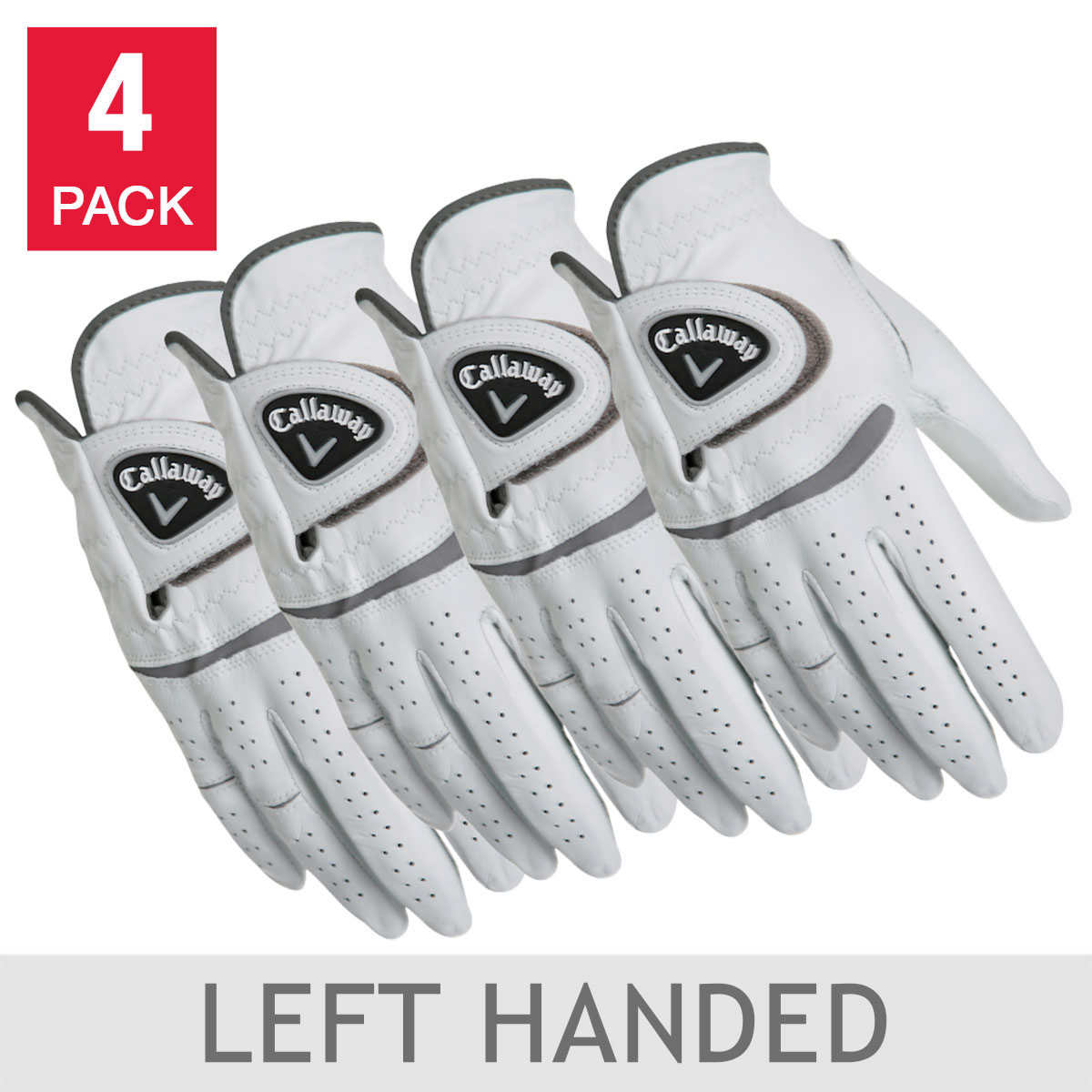Callaway Men\'s Leather Golf Glove 4-pack: Right Handed