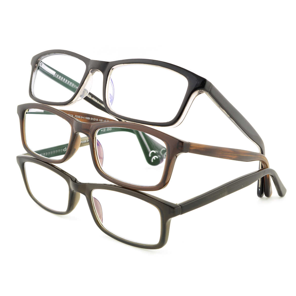 design optics by foster grant hard plastic 3 pack reading glasses