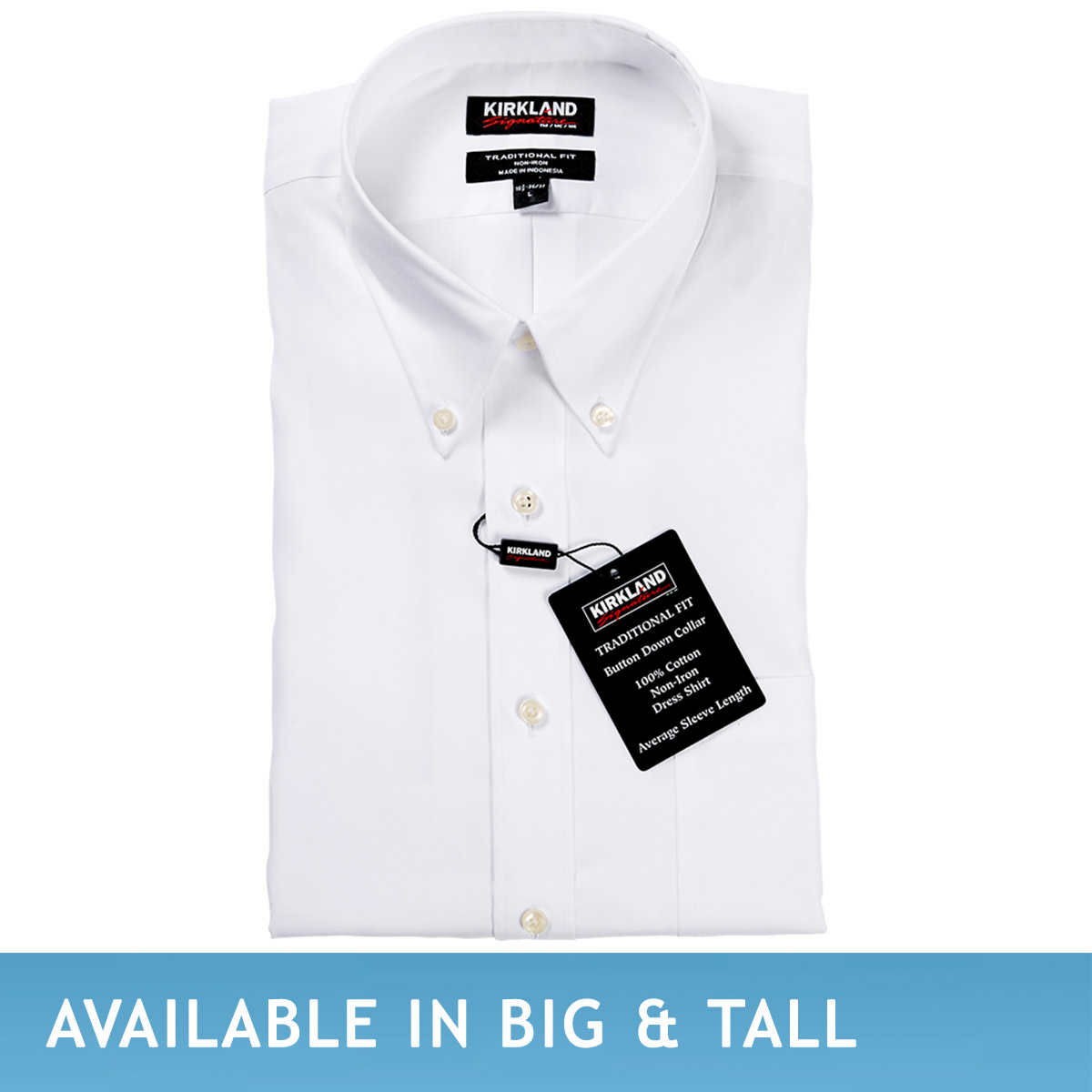 Kirkland black t shirts xl - Kirkland Signature Men S Button Down Dress Shirt White