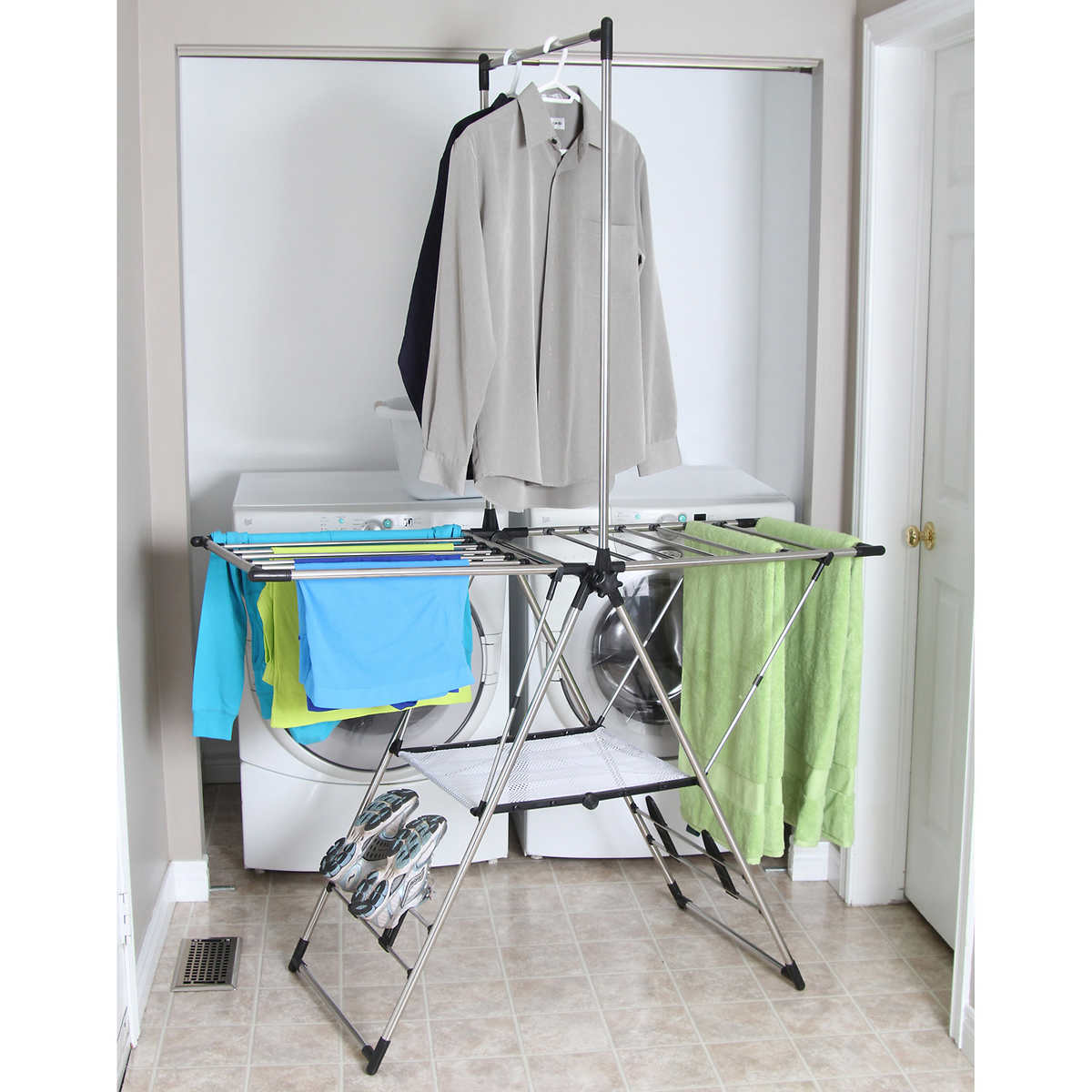 Neatfreak laundry drying rack compact cleaning amp organizing for - Greenway Home Products Stainless Steel Drying Rack With Mesh Shelf