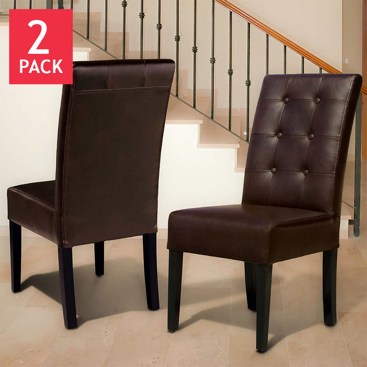 Andrew Bonded Leather Dining Chair 2 Pack
