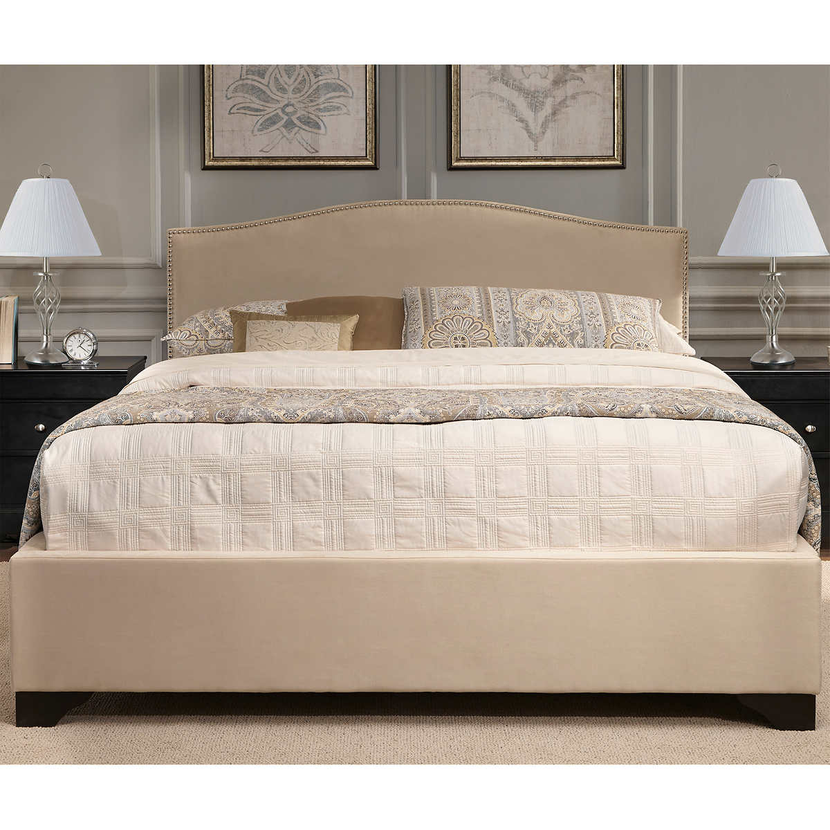 Jocelyn Cal King Upholstered Bed In Cream Fabric