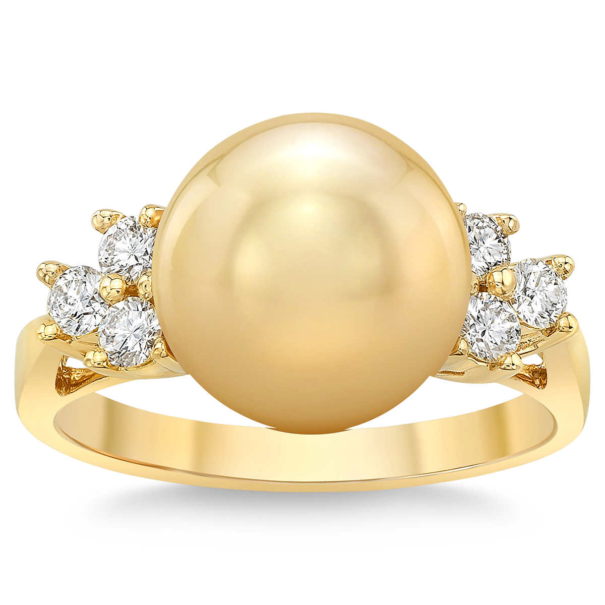 fcf5608c0c599 Golden South Sea 10-11mm Pearl & Diamond 18kt Yellow Gold Ring