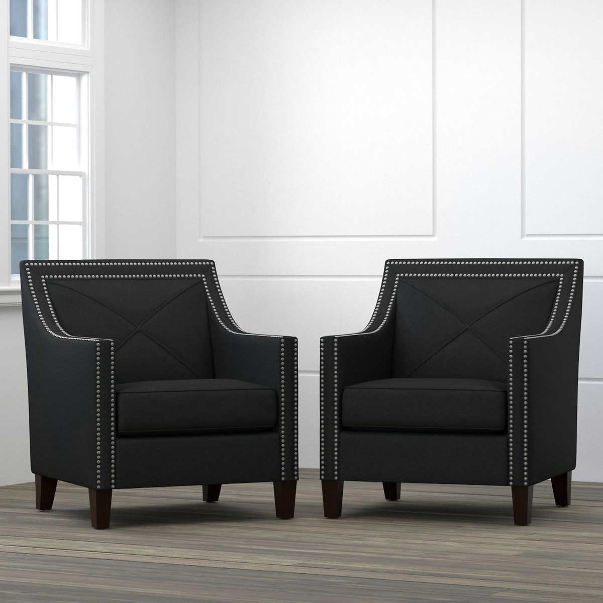 Victor Fabric Black Accent Chairs 2 Pack