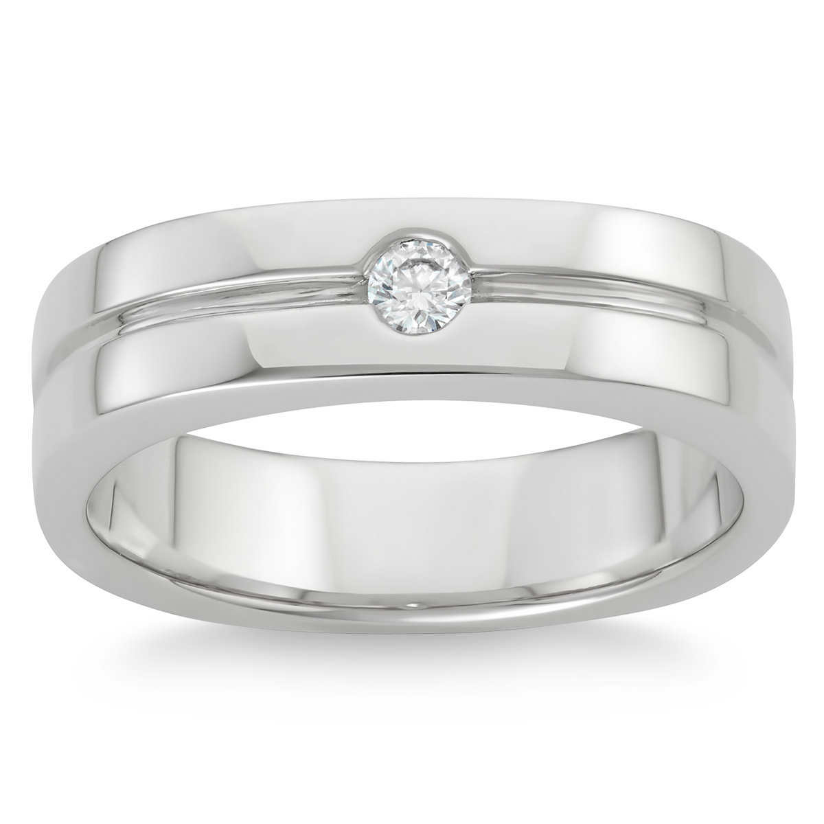 mens rings mens platinum wedding rings Round Brilliant 0 12 ct VS2 Clarity I Color Diamond 14kt White Gold Men s Ring