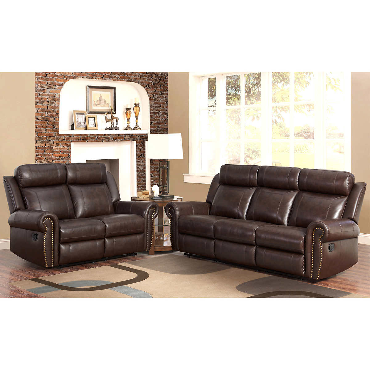 White creamy leather sofa couch and love seat with f for Fabric reclining living room sets
