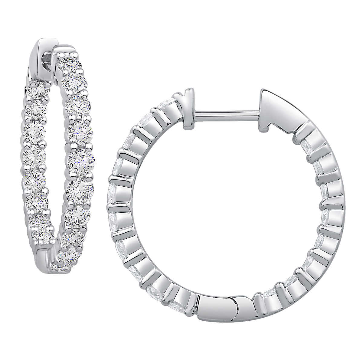 Round Brilliant 150 Ctw Vs2 Clarity, I Color Diamond 14kt White Gold  Inside Outside Hoop