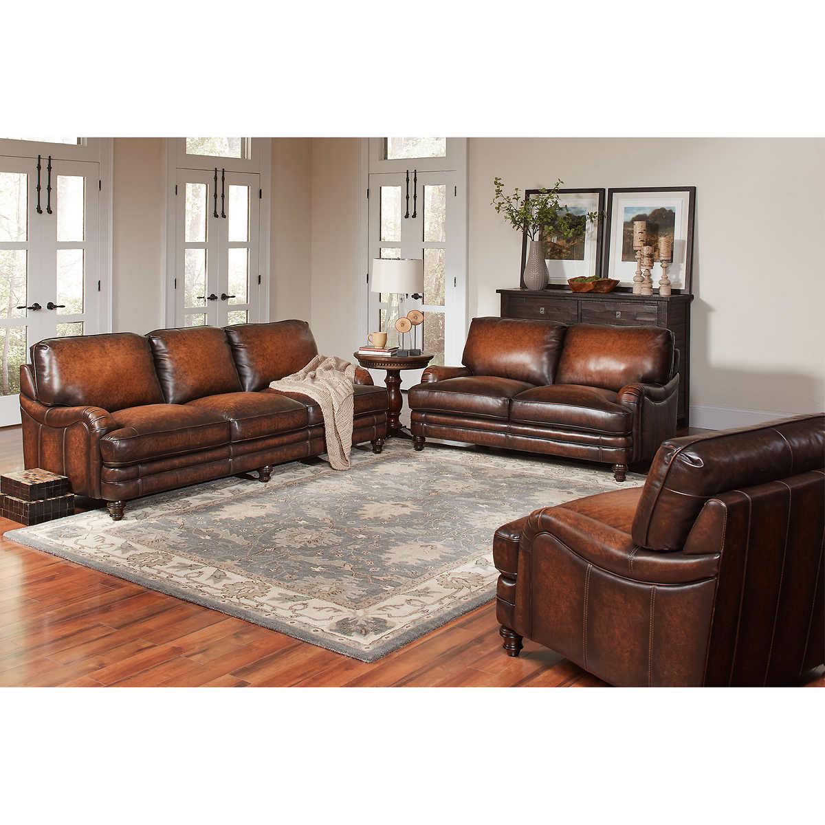 three piece living room set.  Langston 3 Piece Top Grain Leather Living Room Set