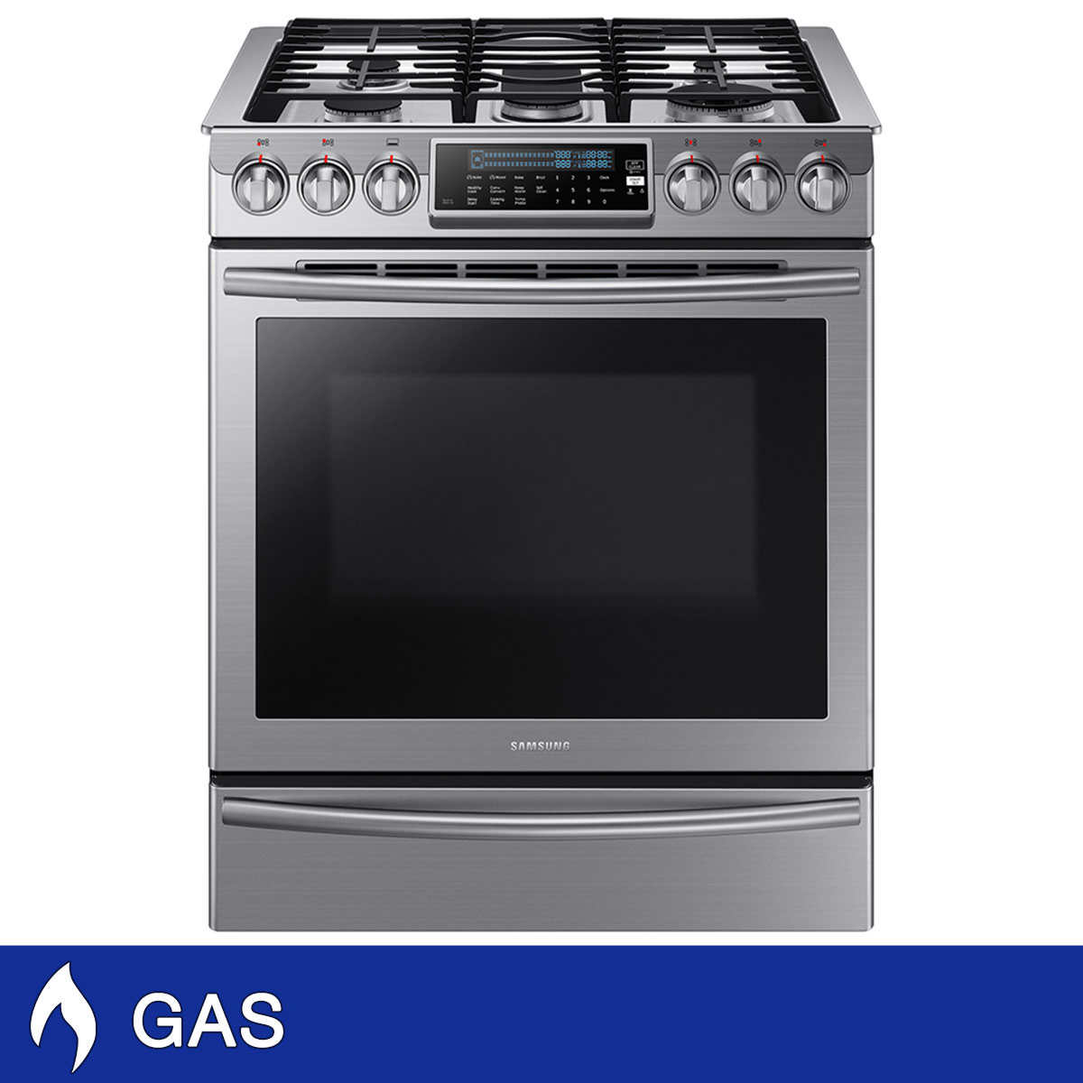 Kitchen appliances in slate color - Samsung 5 8cuft Gas Slide In Stainless Steel Range With True Convection In Stainless Steel
