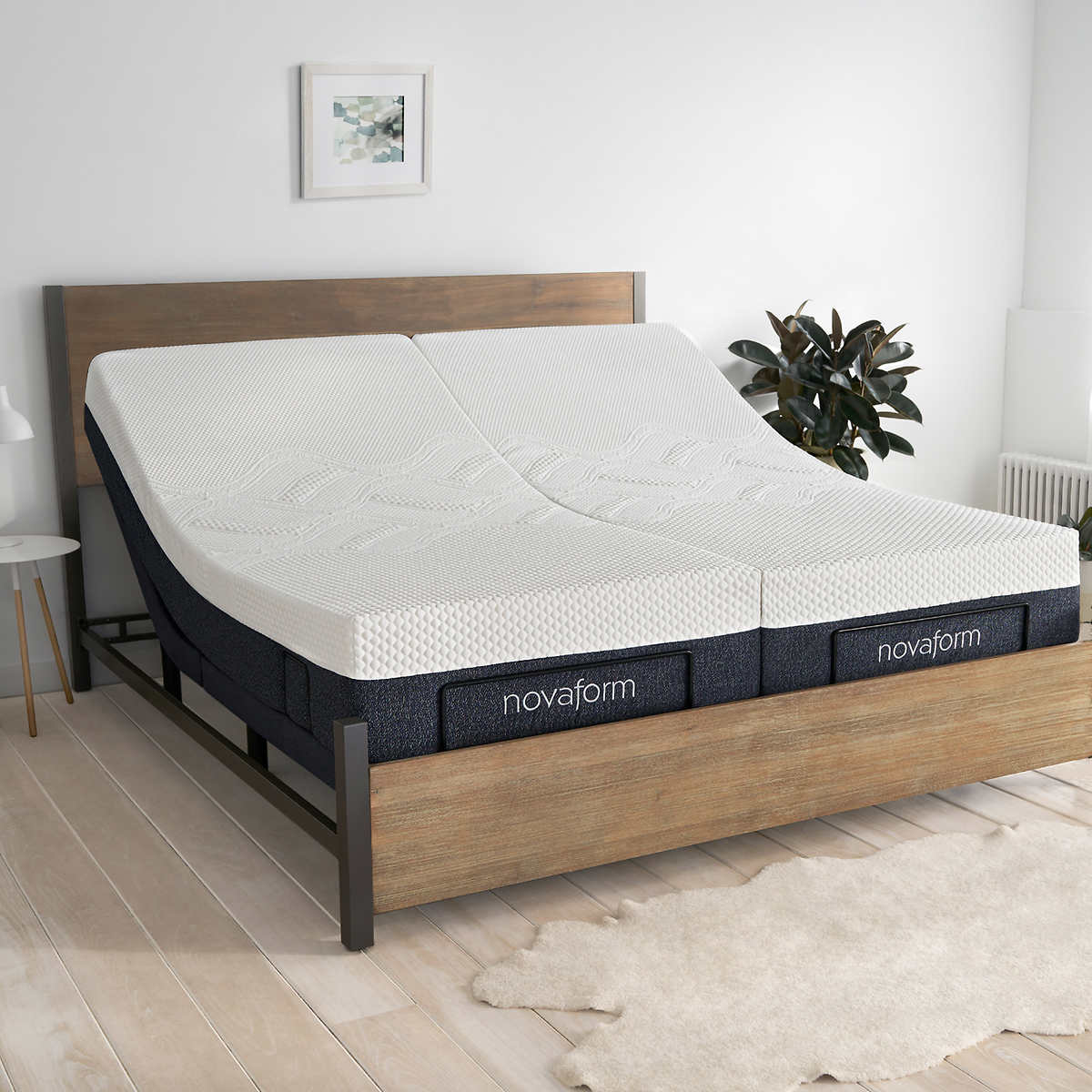 novaform 12 serafina split king gel memory foam adjustable mattress only - Adjustable Queen Bed Frame