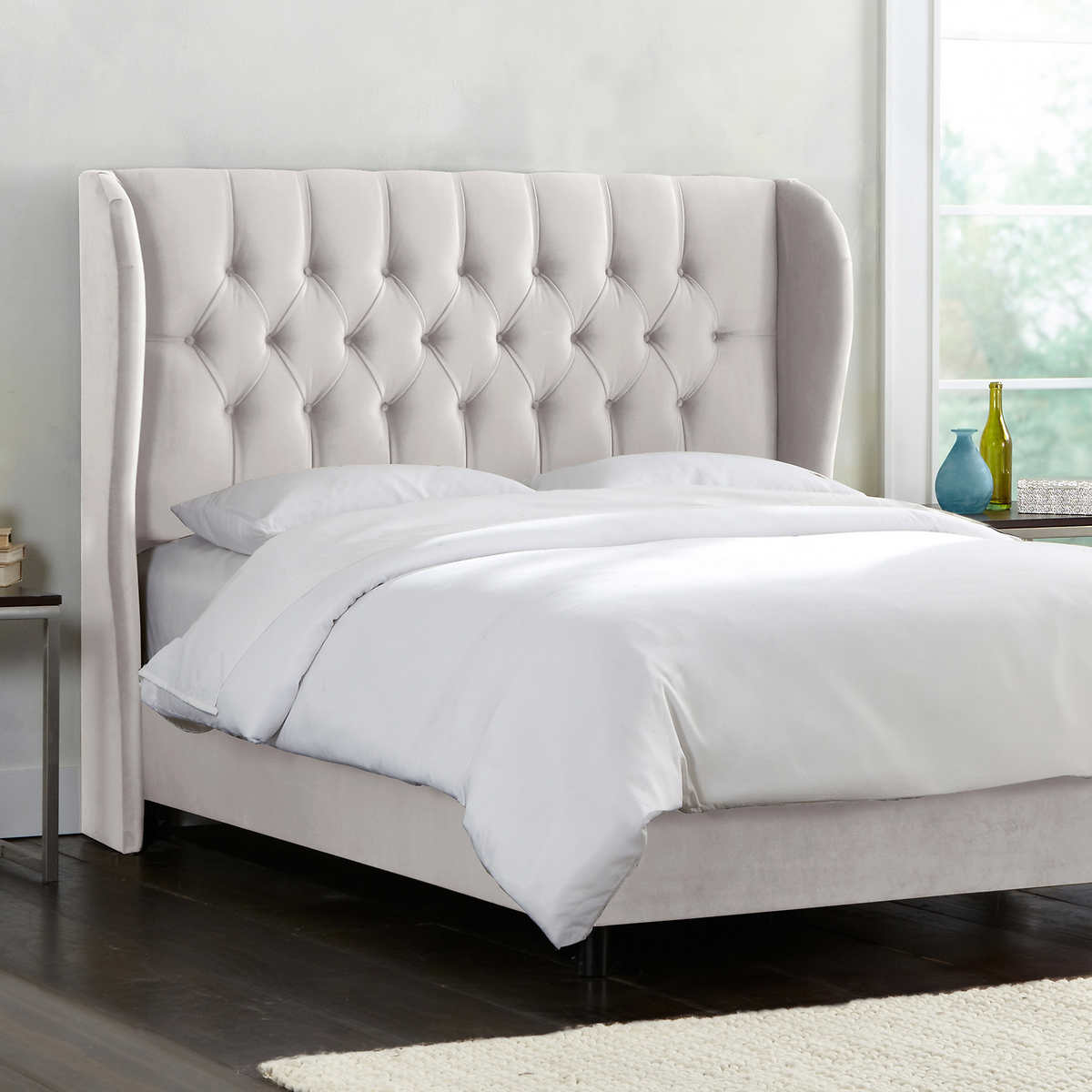 white upholstered queen bed bedding sets