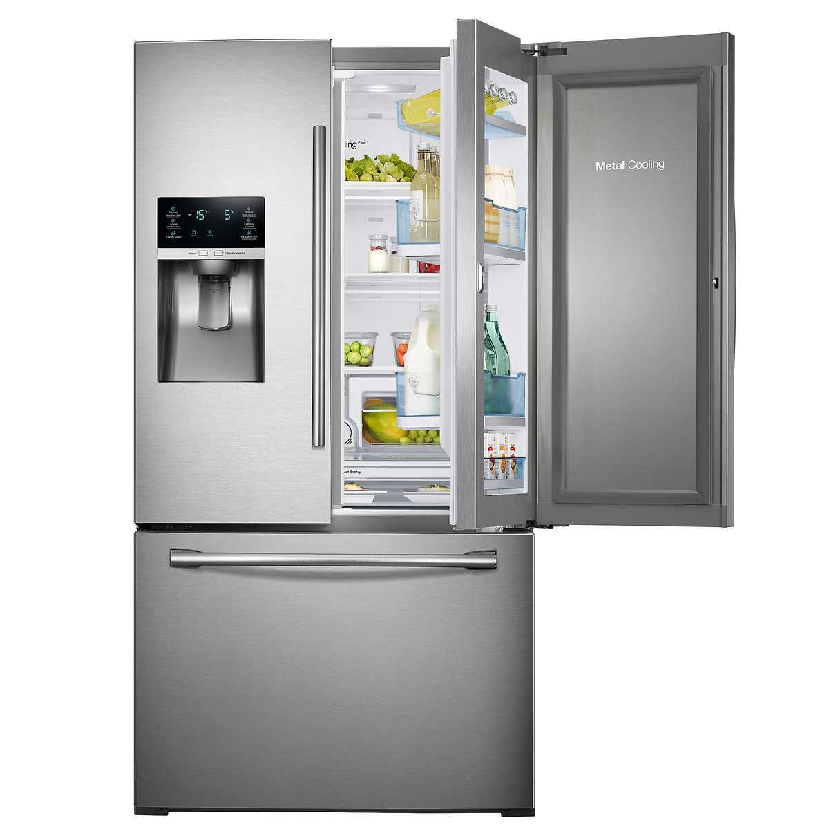 Samsung 28cuft 3 door french door showcase refrigerator with metal 1 1 rubansaba