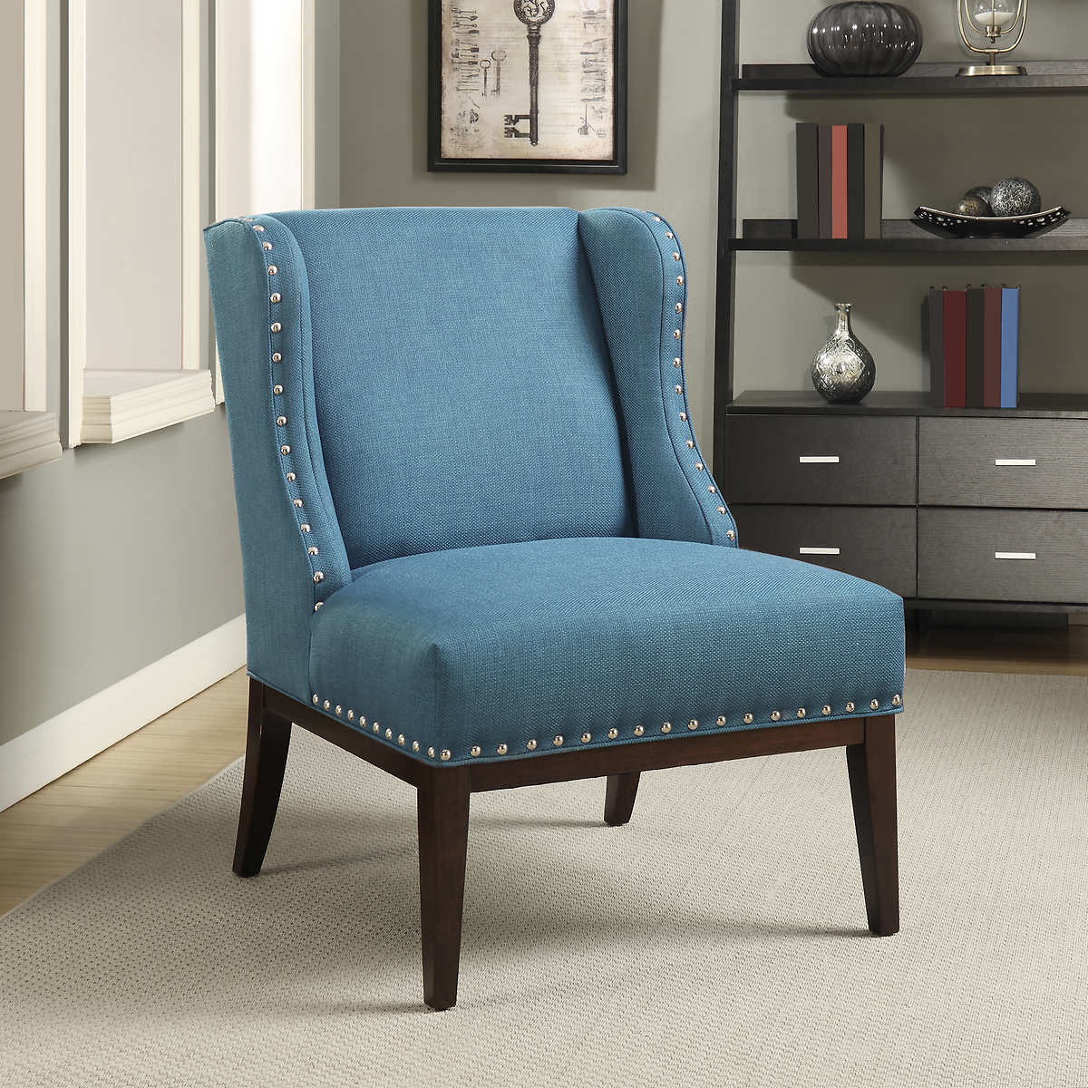Teal wingback chair - Kitts Fabric Wingback Accent Chair