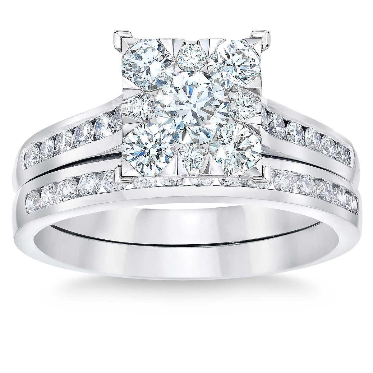 round brilliant 110 ctw vs2 clarity i color diamond 14kt white gold wedding set - Costco Wedding Rings