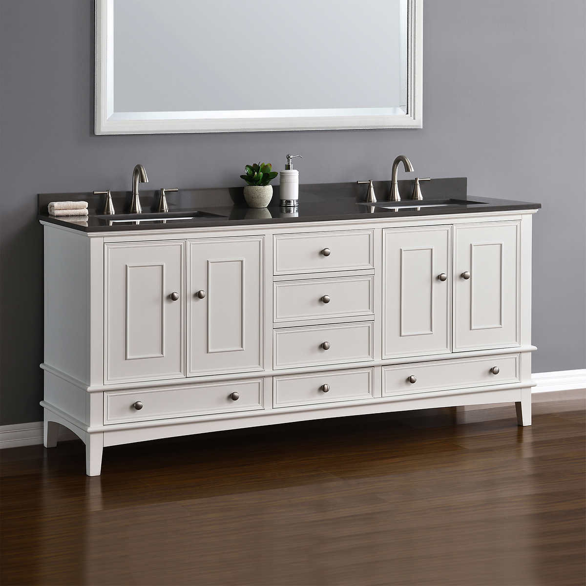 Double sink white bathroom vanities - Cambridge 72 White Double Sink Vanity By Mission Hills