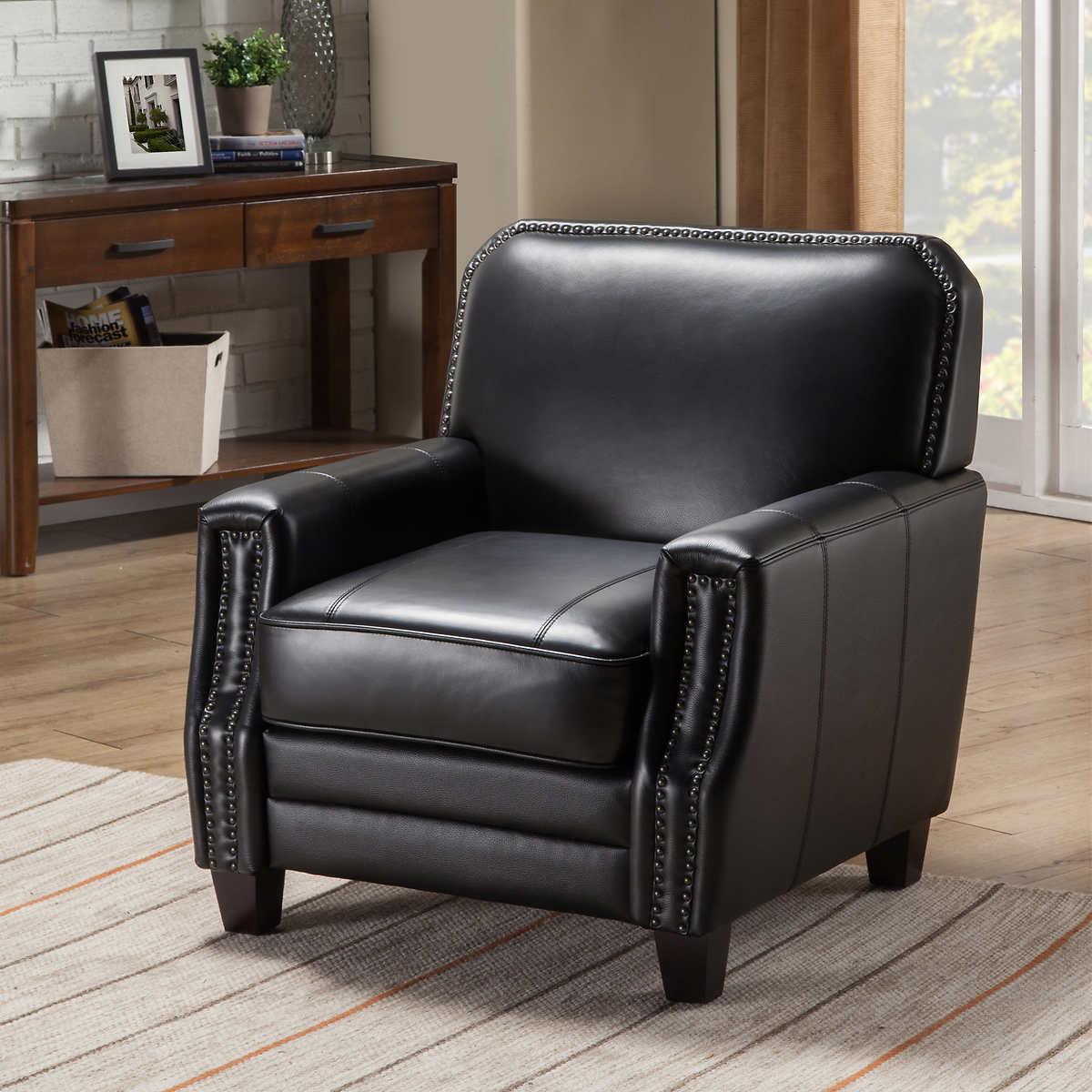 Club chair recliner - Hallandale Top Grain Leather Club Chair Black