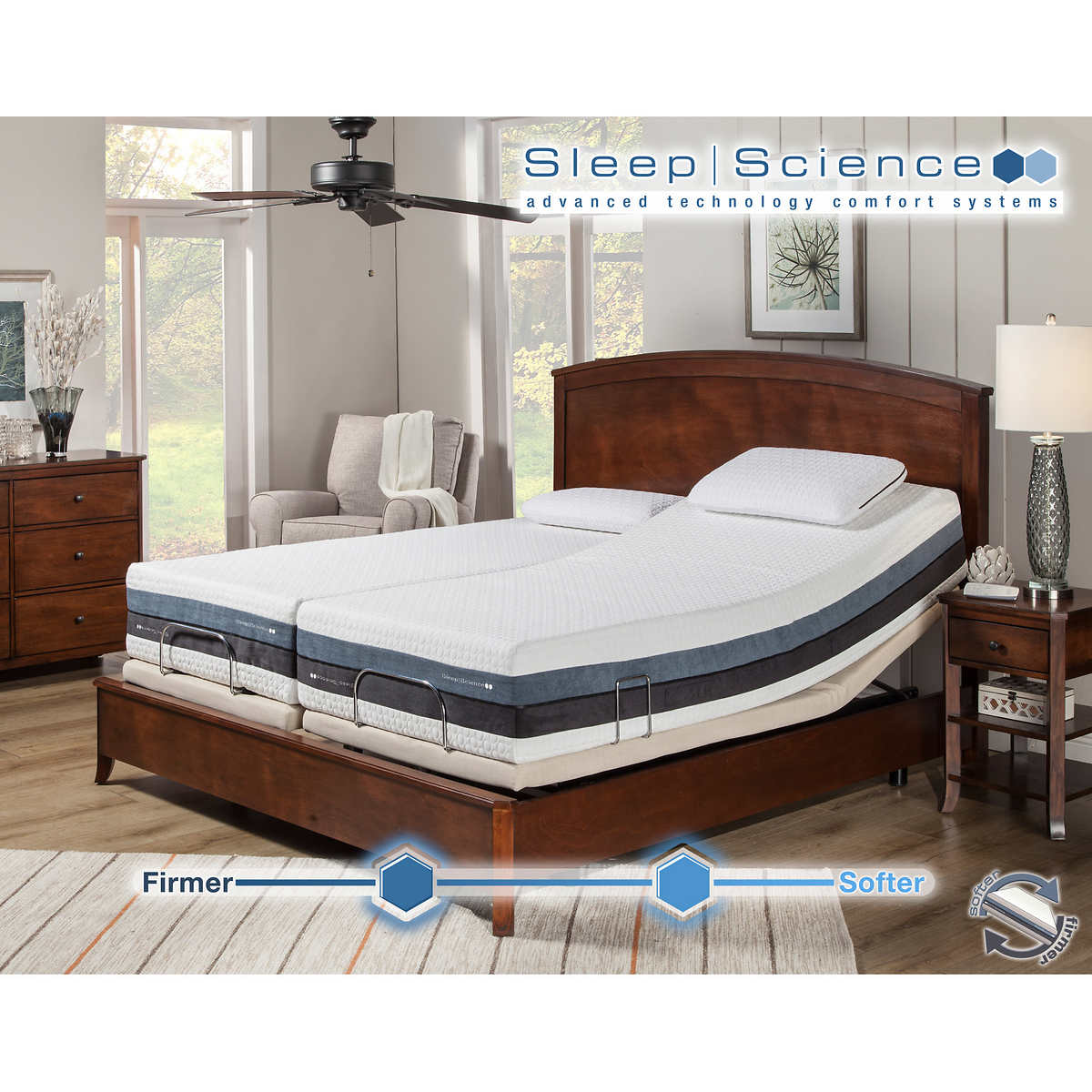 sleep science 12 iflip sonoma split cal king dual comfort memory foam mattress with adjustable - Bed Frames And Mattresses