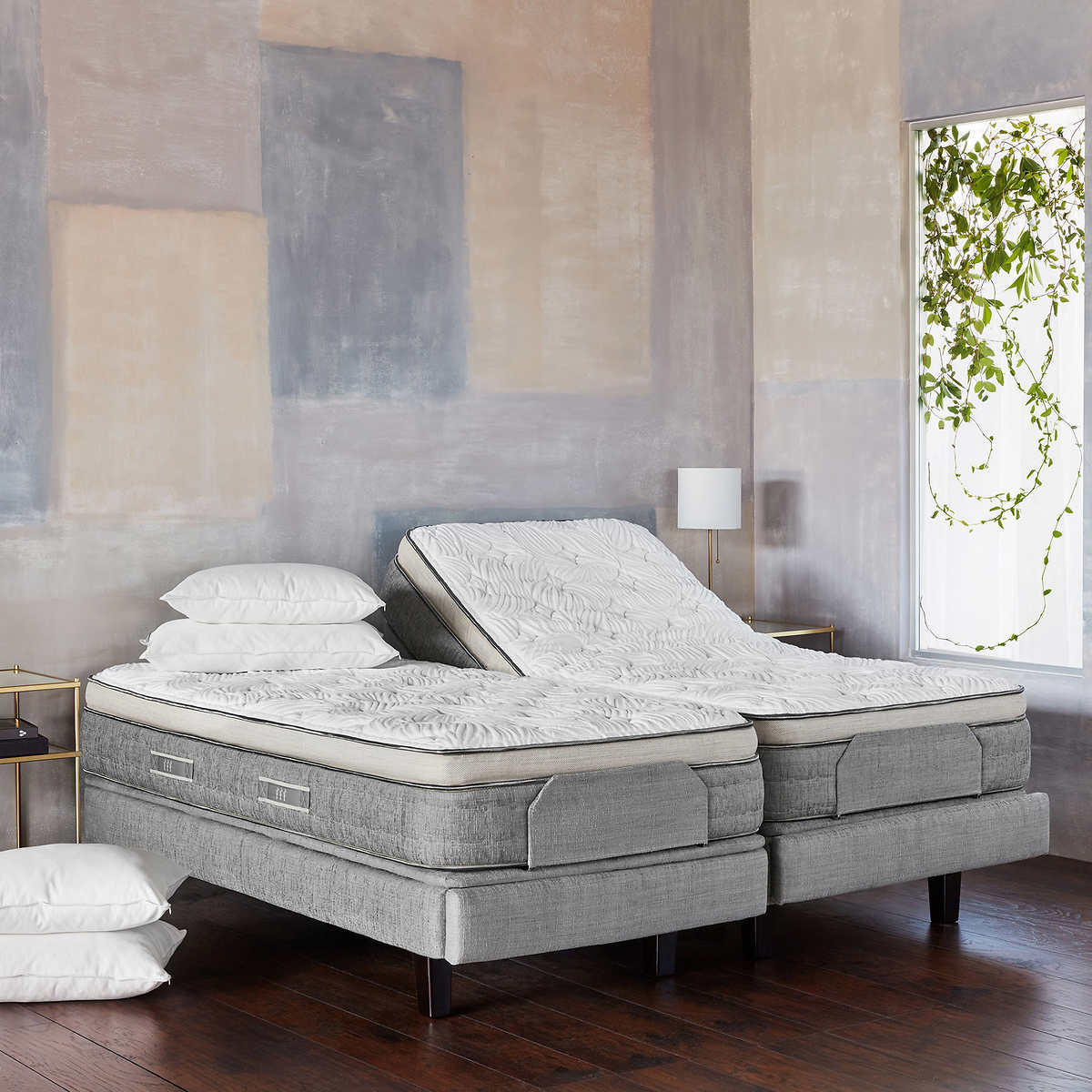 brentwood home cupertino cushion firm split king with adjustable base - Split King Adjustable Bed Frame