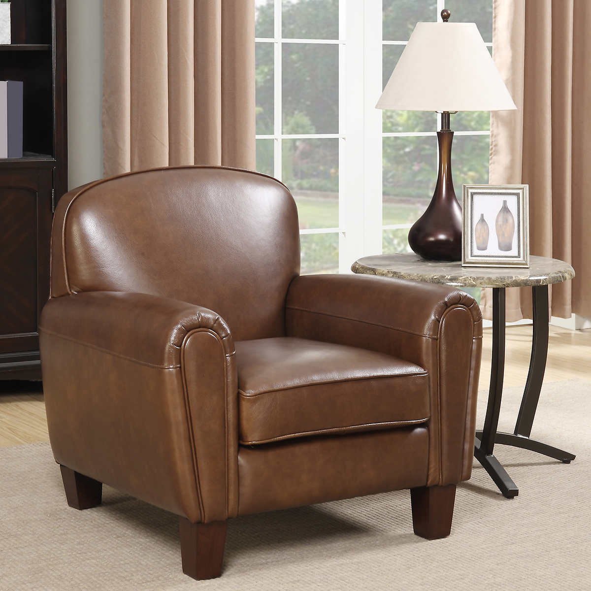 Gilbert Top Grain Leather Accent ChairChairs   Costco. Aqua Leather Accent Chair. Home Design Ideas