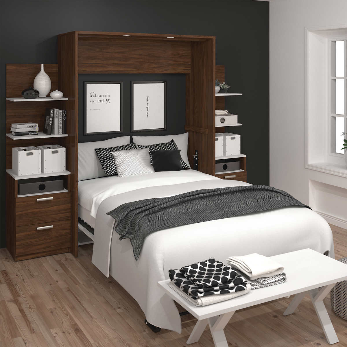 Cielo full wall bed in oak with two side storage towers click to zoom amipublicfo Image collections